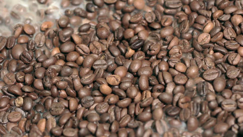 Fragrant fried coffee beans Stock Video Footage