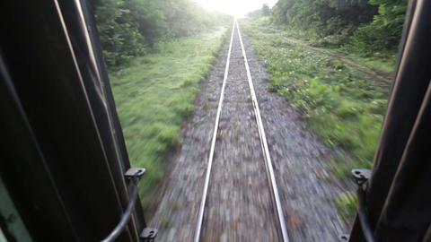 Railway perspective from train backdoor Stock Video Footage