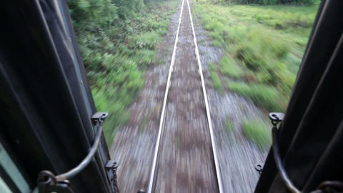 Railway perspective from train backdoor Stock Video Footage