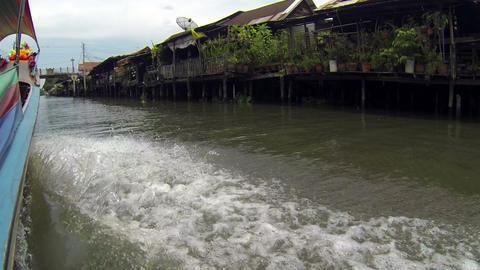 Longtail boat pov in Bangkok Khlongs Stock Video Footage