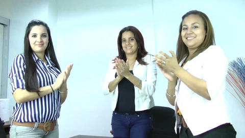 Three business people clapping Stock Video Footage