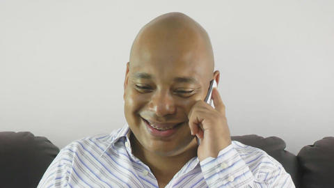 Businessman Using A Mobile Phone At Home stock footage