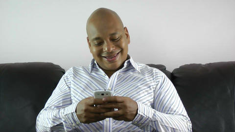 african american businessman using smart phone ema Stock Video Footage