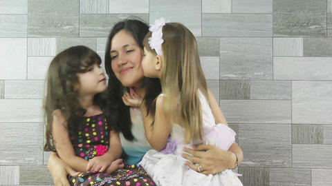 happy mother and her children having fun together Stock Video Footage