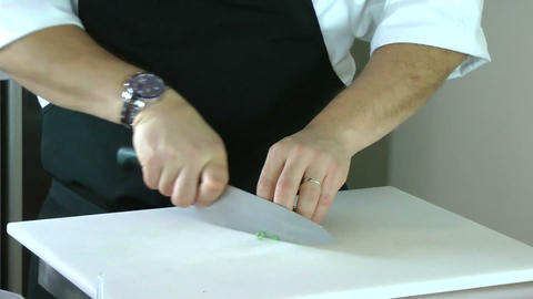 Chef chopping basil Footage