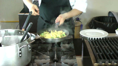 male chef preparing tasty food in kitchen Stock Video Footage