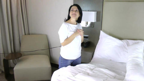 Smiling woman in her home. She just got her new ho Stock Video Footage