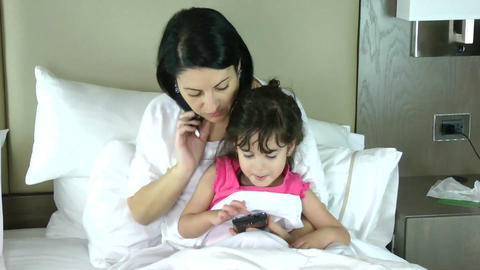 Mother teaching her little Daughter to play in the Stock Video Footage