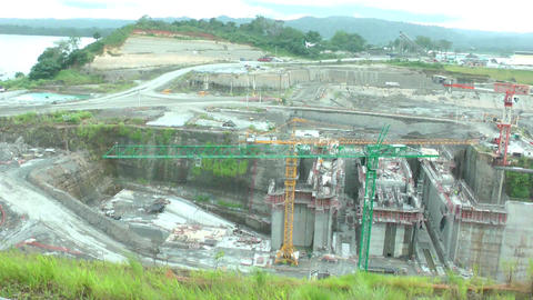 Day of work in the Panama Canal expansion project. Stock Video Footage