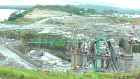 Day Of Work In The Panama Canal Expansion Project. stock footage