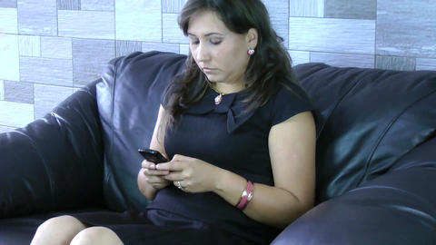 businesswoman sending sms on mobile phone Stock Video Footage