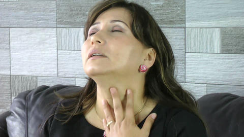 woman scratching neck and face with allergy skin p Stock Video Footage