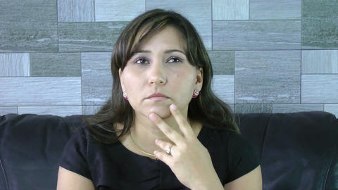 Young pensive female businesswoman looking sideway Stock Video Footage