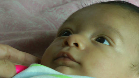 Close up of a two month old hispanic baby Stock Video Footage