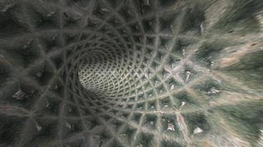 flying in tech tunnel,bronze metal rivet pipeline Stock Video Footage