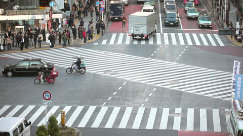 Crowd crossing street time lapse Stock Video Footage