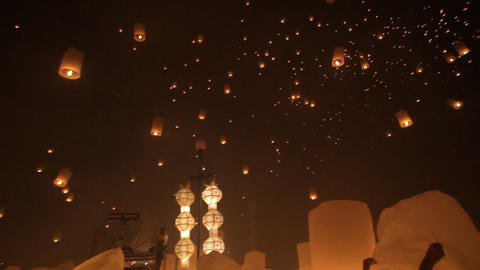 Launching fire lanterns for Loy Krathong Stock Video Footage
