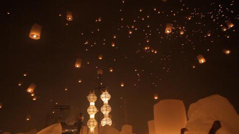 Launching fire lanterns for Loy Krathong Footage
