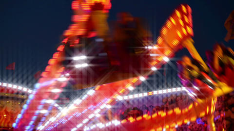 funfair carousel with dreamy look Stock Video Footage