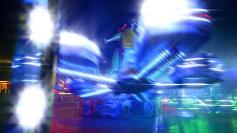 Funfair Carousel Twisting With Dreamy Look stock footage