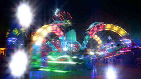 funfair carousel twisting with dreamy look Stock Video Footage