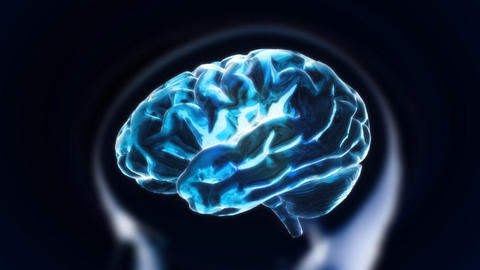 blue brain with head section glow Stock Video Footage