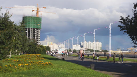 City of Blagoveshchensk Quay Walkway Footage