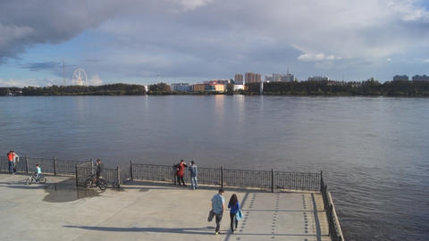 City of Blagoveshchensk Embankment Stock Video Footage