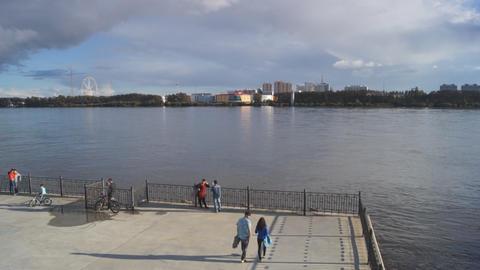 City of Blagoveshchensk Embankment Stock Video Footage