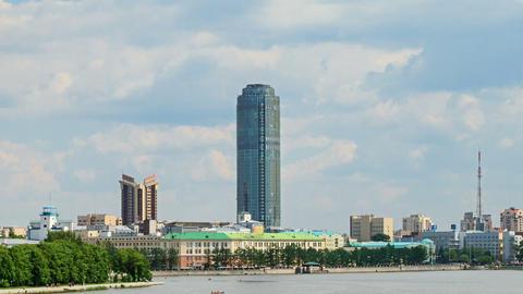 Central pond. Around skyscraper. Russia, Ekaterinb Stock Video Footage