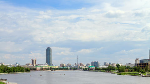 Central pond.Ekaterinburg Stock Video Footage