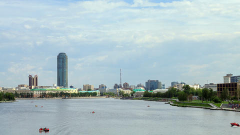 Central pond.Ekaterinburg Footage