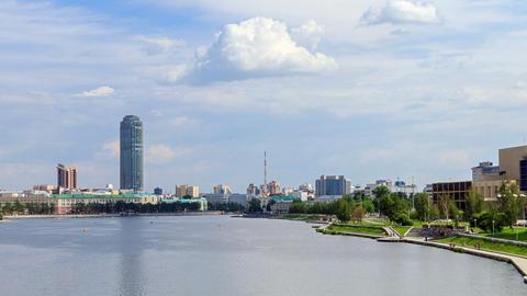 Central pond.Ekaterinburg Stock Video Footage
