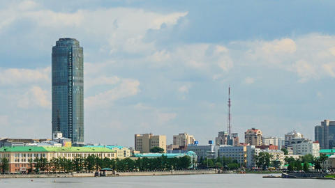 Central pond. Around skyscraper. Zoom. Russia, Eka Stock Video Footage