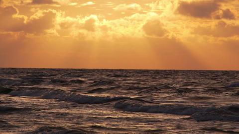 Orange sky over the sea Footage