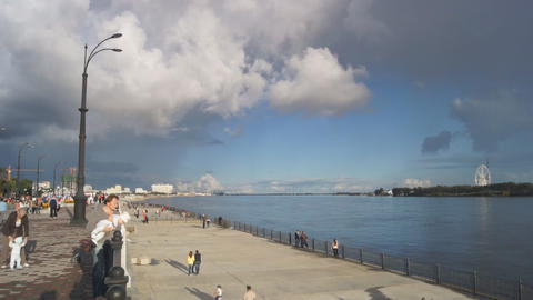 City of Blagoveshchensk Embankment 05 Stock Video Footage