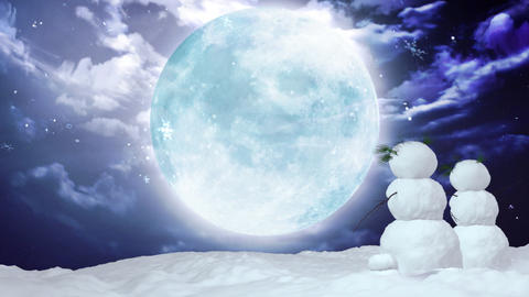 Christmas snowman large moon Animation