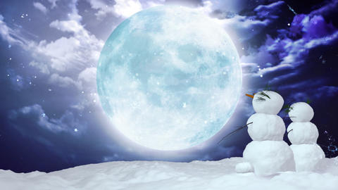 Christmas snowman large moon Stock Video Footage