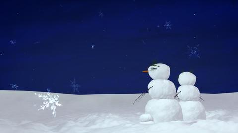 Christmas snowman pair at night Stock Video Footage