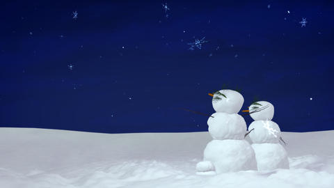 Christmas snowman pair at night Stock Video Footage