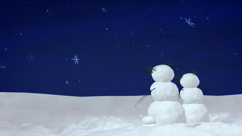 Christmas snowman pair at night Animation