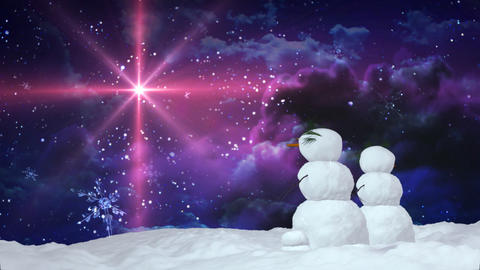 Christmas snowman red star Stock Video Footage