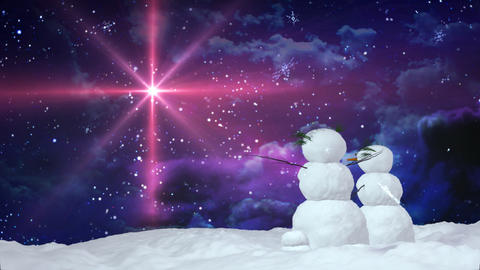 Christmas snowman red star Animation