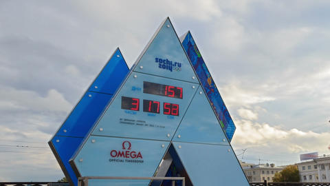 Olympic Clock Games in Sochi 2014. Time Lapse Footage
