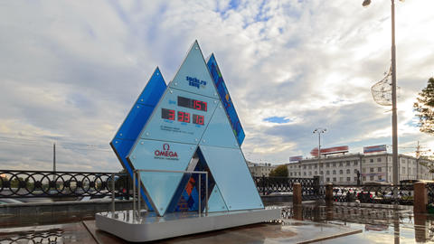 Olympic Clock Games in Sochi 2014. Time Lapse. 4K Stock Video Footage