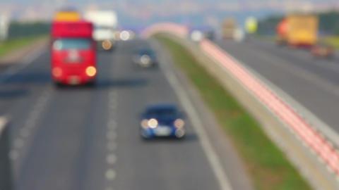 cars traveling on highway - defocused Stock Video Footage