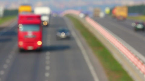 cars traveling on highway - defocused Footage