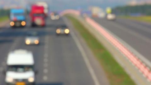 cars traveling on highway - defocused timelapse Stock Video Footage
