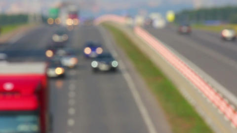 cars traveling on highway - defocused timelapse Footage
