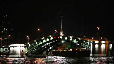 opening drawbridge at night in St. Petersburg Russ Footage